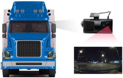 Truck with Dual Dash Cam System